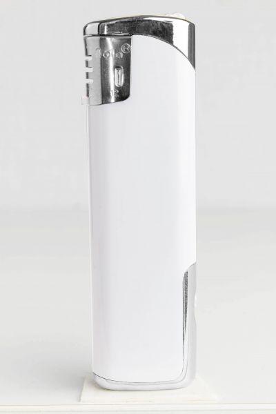 Nola 12 Elektronik Feuerzeug LED weiß nachfüllbar glänzend weiß, Kappe und Drücker chrom mit weiß