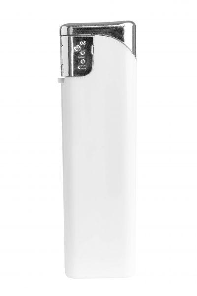 Nola 2 Elektronik Feuerzeug weiß nachfüllbar glänzend weiß, Kappe und Drücker chrom mit weiß