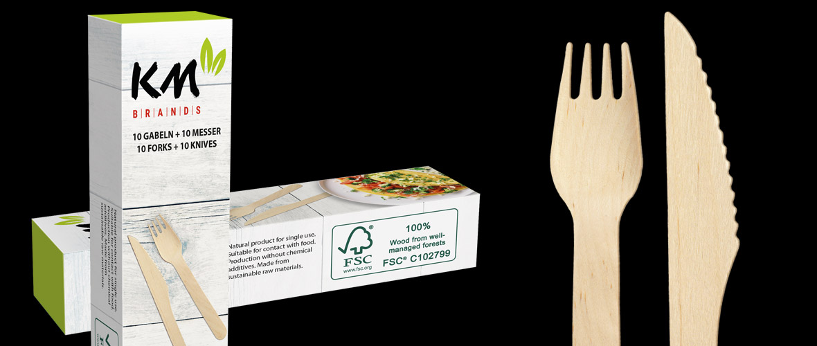 Wooden cutlery for the sake of the environment - 100% FSC certified & available with your individual printing