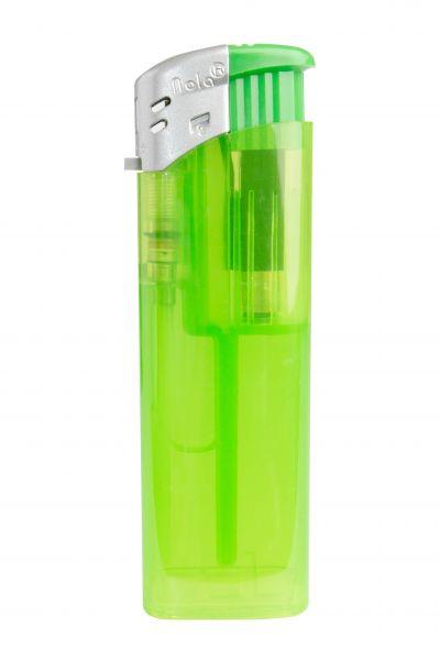 Nola 9 Elektronik Feuerzeug hellgrün nachfüllbar Frosty matt hellgrün, Kappe silber, Drücker hellgr