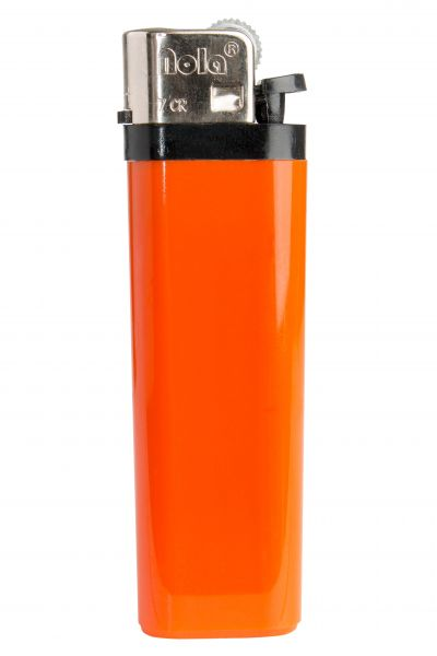 FLINT lighter Nola 7 HC orange, disposable body HC orange, cap chrome, pusher black