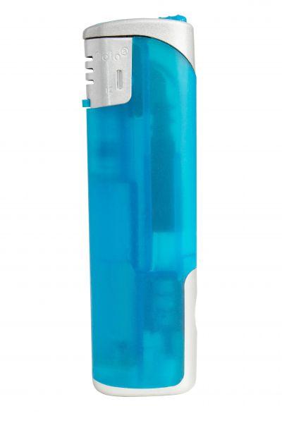 Nola 12 Elektronik Feuerzeug LED blau nachfüllbar frosty blau, Kappe und Drücker chrom mit blau