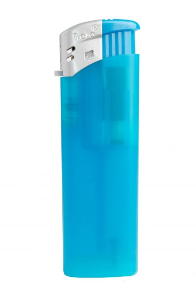 Nola 9 Elektronik Feuerzeug blau nachfüllbar Frosty matt blau, Kappe silber, Drücker blau