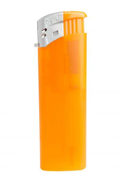 Nola 9 Elektronik Feuerzeug orange nachfüllbar Frosty orange, Kappe silber, Drücker orange