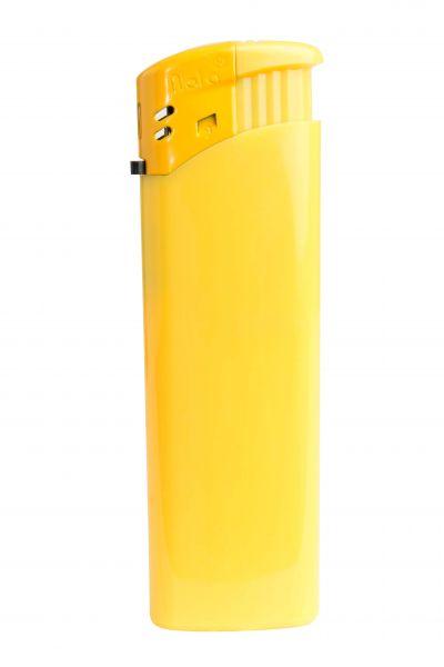 Nola 9 Elektronik Feuerzeug gelb nachfüllbar glänzend gelb, Kappe und Drücker gelb