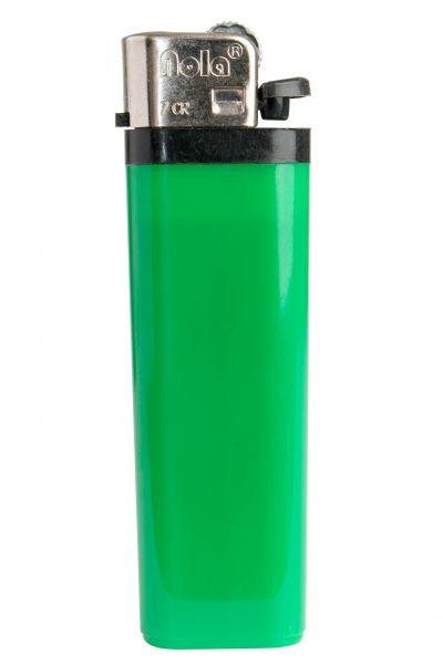 FLINT lighter Nola 7 HC green, disposable body HC green, cap chrome, pusher black