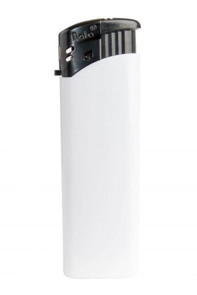 Nola 9 Elektronik Feuerzeug weiß nachfüllbar glänzend weiß, Kappe und Drücker schwarz