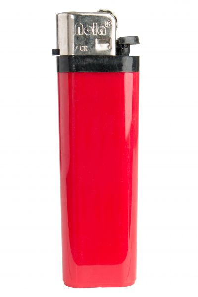 FLINT lighter Nola 7 HC red, disposable body HC red, cap chrome, pusher black