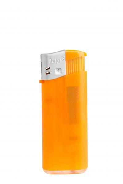 Nola 4 midi Elektronik Feuerzeug orange nachf. Frosty matt orange, Kappe silber, Drücker orange