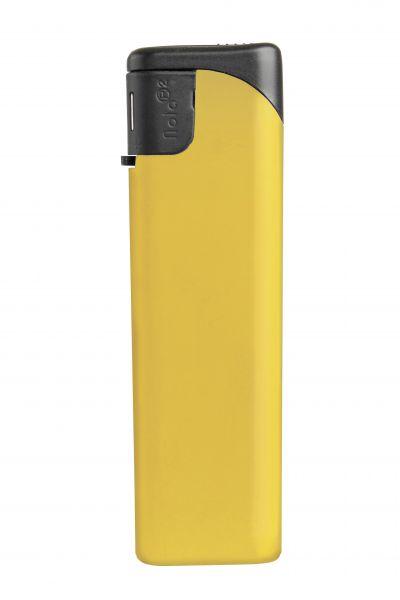 Nola 2 Elektronik Feuerzeug gelb nachfüllbar matt gelb, Kappe und Drücker schwarz
