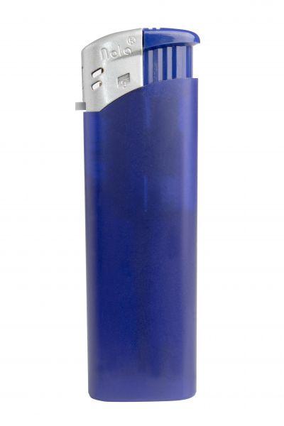 Nola 9 Elektronik Feuerzeug purple nachfüllbar Frosty matt purple, Kappe silber, Drücker purple