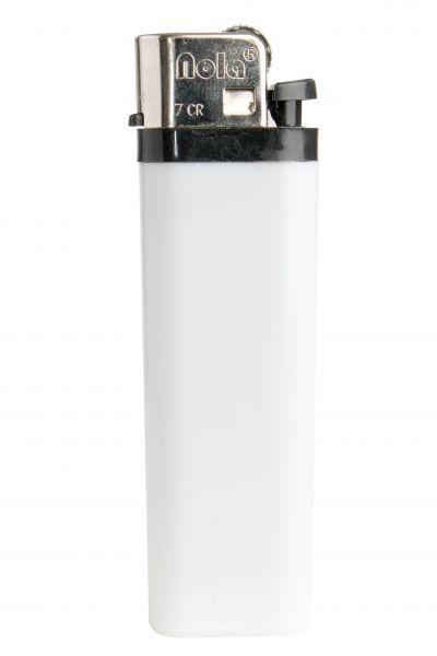 Nola 7 Reibrad Feuerzeug weiß Einweg glänzend weiß, Kappe chrom, Drücker schwarz