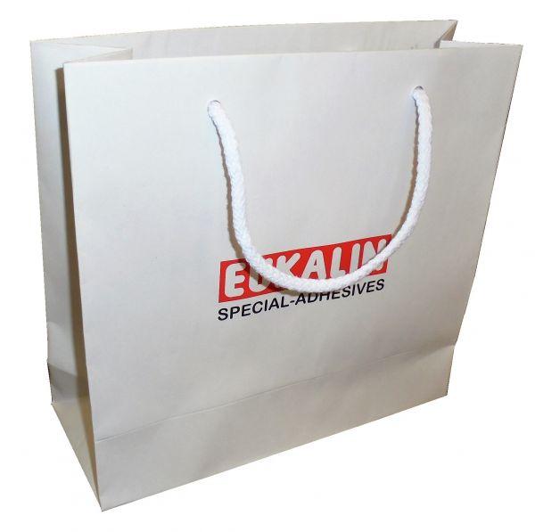 Tragetasche BASIC weiss 4 120g Kraftpapier - 24x9x23cm - unbedruckt