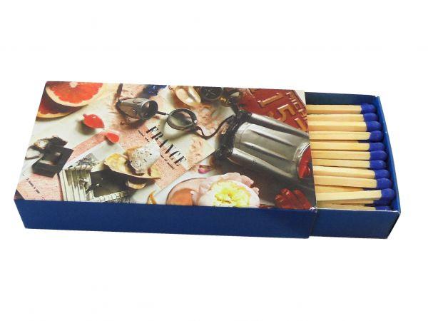 Boîtes d'allumettes 112x62x20mm Cont. env. 48-50 allumettes longues