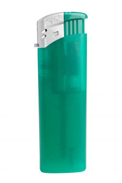 Nola 9 Elektronik Feuerzeug grün nachfüllbar Frosty matt grün, Kappe silber, Drücker grün