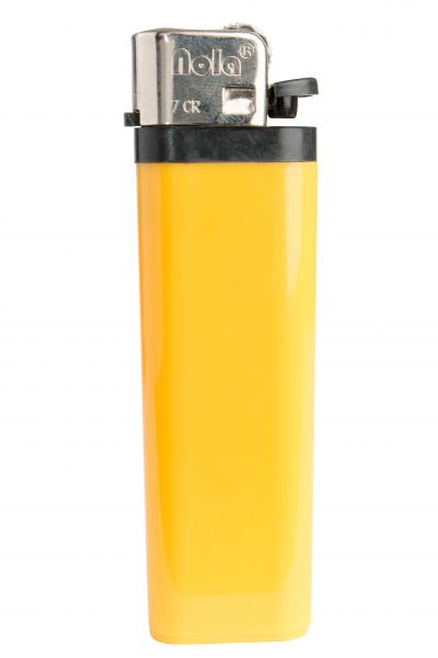 FLINT lighter Nola 7 HC yellow, disposable body HC yellow, cap chrome, pusher black